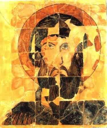 Керамична икона на св. Теодор Стратилат, изпълнена напълно според каноните на християнското изкуство