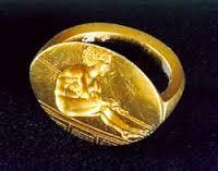 Златен пръстен-печат от Светицата с изображение на почиващ атлет